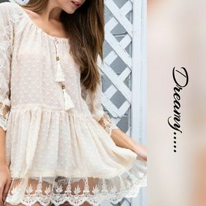 Baby Doll Tunic Dress Embroidery & Lace Tassel Tie